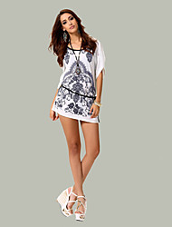 Ronde hals - Spandex/Acryl - Geborduurd - Vrouwen - T-shirt - Korte mouw