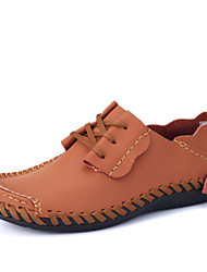 Hombre Zapatillas de deporte Cuero de Napa Primavera Verano Otoño Paseo Combinación Tacón Plano Negro Marrón Marrón oscuro Gris claro