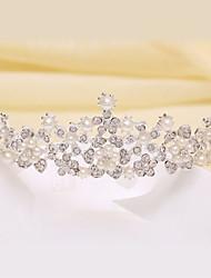 Bride's Flower Shape Pearl Forehead Wedding Headdress Crown 1 PC