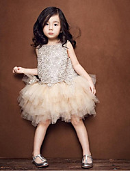 Flower Girl Dress Knee-length Tulle  Sleeveless Dress
