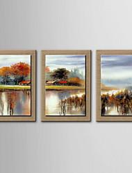 живопись маслом украшения абстрактная пейзажи ручной росписью холст с натянутой в рамке - набор из 3