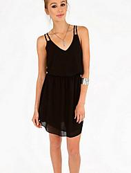 Women's Sexy/Beach/Casual/Lace Micro-elastic Sleeveless Knee-length Dress (Chiffon/Lace/Spandex/Polyester)