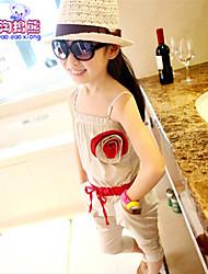 Waboats Kids Girls' Flower Suspenders 3-7 Years Pant Set