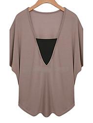 Damen Solide Einfach Lässig/Alltäglich T-shirt,V-Ausschnitt Sommer Kurzarm Weiß / Schwarz / Braun Baumwolle Dünn