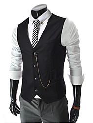 Masculino Blazer Médio Cor Solida Misto de Algodão Sem Manga Masculino