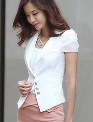 Women's Casual Work Thin Short Sleeve Regular Blazer (Polyester)
