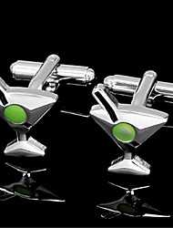 Men's Cocktail Martini Goblet Green Shirt Wedding Cufflinks