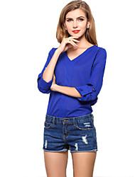 Women's Casual V-neck Chiffon Blouse Tops T-shirt Tee Bottoming Shirt