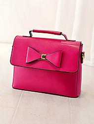 Women 's PU Messenger Satchel - Beige/Pink/Purple/Yellow/Black