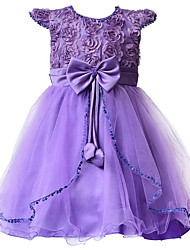 Children Girl's Purple Evening Party Floral Accessories Dress , Lace Polyester / Others All Seasons for  Girls 3~7Years