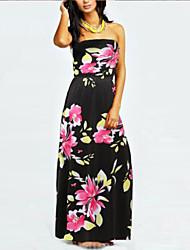 De las mujeres Recto Vestido Floral Maxi Acrílico