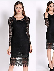 Women's Vintage/Bodycon/Lace/Party Micro-elastic Long Sleeve Midi Dress (Lace)