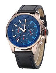 Curren Men's Watch Number and Strips Marks with Round Dial Leather Watchband