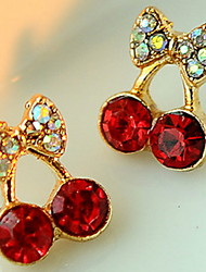 Women's Cute Red Cherry Delicate Diamond Earrings
