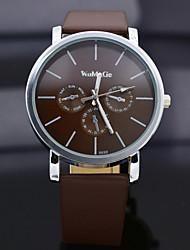 montre à quartz de WoMaGe avec des bandes indiquent bande de cuir brun foncé montre pour les femmes