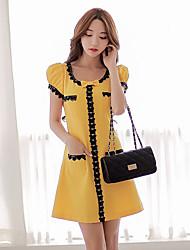DABUWAWA Women's Bodycon/Casual/Lace/Work Round Short Sleeve Dresses (Polyester/Viscose)