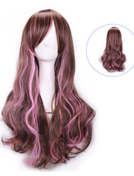 Harajuku Bangs Wig Femme Anime Ombre Cheap Cosplay Wigs Natural Sex Products Wigs Brown Pink Rainbow Synthetic Hair Wigs