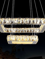 Contemporary Crystal LED Pendant Lights Ceiling Chandeliers Lighting Hanging Lamps Fixtures with 2 Rings 50CM 70CM