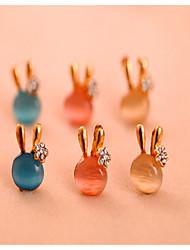 Korean Fashion Candy Colored Opal Earrings Cute Rabbit Bow Earrings Cute Gemstone & Crystal Stud Earrings