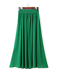 Women's Casual Long Maxi Skirts Tulle Skirt Pleated Juniors High Waisted Bohemia