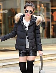 Women's Casual Long Sleeve Regular Parka (Cotton Blends)