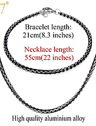U7® Men's New Trendy Cool Black Necklaces Bracelets Sets High Quality Mens Chains 3MM 22'' Box Link Chains Jewelry Sets