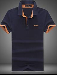 Camisetas ( Algodón Compuesto )- Casual Cuello de camisa Manga Corta