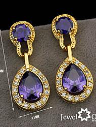 Wholesale Women Jewelry Drop Earrings Crystal Vivid Purple Cz Amethyst Crystal Earrings
