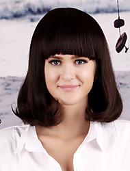 kvinnor syntetisk mörkbrun peruk rakt 14 tum