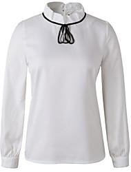 Damen Hemd Elasthan Langarm Ständer