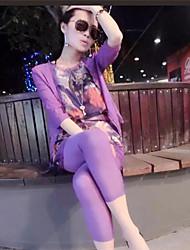 Women's Party/Work Inelastic Long Set (Others)  Vest+Leggings+Cardigan