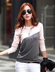 Damen T-Shirt Baumwoll-Mischung Langarm Rundhalsausschnitt