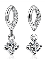 lureme® Fashion Style Silver Plated Lip Cross Shape with Zircon Stud Earrings