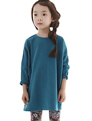 Girl's Spring Fall Solid Color Loose Tops Long Sleeved Casual Tee (Cotton Blend)