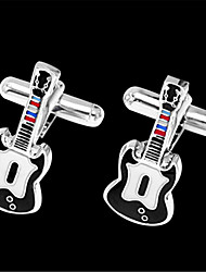 Men's Electrical Guitar Rock Music Blk  Wedding Shirt Cufflinks