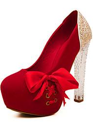 Calçados Femininos Camursa Sintética Salto Agulha Saltos Plataformas / Saltos Casual Preto/Rosa/Vermelho