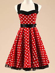 Women's Halter 50s Vintage Polka Dots Rockabilly Swing Dress