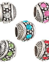 Diy Beads Fashion Rhinestone Round Shape Large Hole Beads 5Pcs