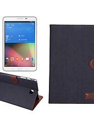 Denim-Stoff-Lederkasten mit Halter&Kartensteckplätze&Brieftasche für Galaxy Tab ein 8.0 / t350