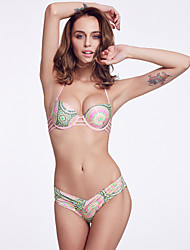 The Fille Women's Sexy Bombshell Push-up/Padded Underwire Bras/Paisley Floral Halter Tops of Bikinis