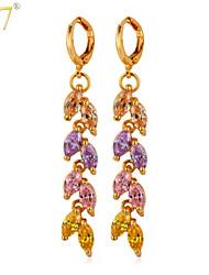 U7® Women's Cute Leaf Long Earrings Multicolor Cubic Zirconia Jewelry 18K Gold/Platinum Plated Fashion CZ Drop Earrings