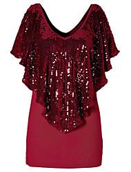 Tee-shirt Femme,Tartan Sortie Sexy Automne Manches Courtes Col Arrondi Rouge Noir Gris Coton Spandex Opaque
