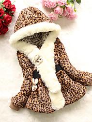 Menina de Capa & Casaco Duvet Leopardo Pêlo Sintético / Poliéster / Misto de Algodão Inverno / Primavera / Outono Estampa Animal
