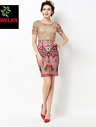 YIMILAN® Women's The New 2015 Heavy Lace Embroidery Dress With Short Sleeves