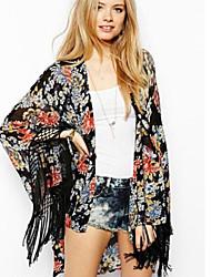 Damen Bluse  -  Quaste/Blume Polyester ¾-Arm