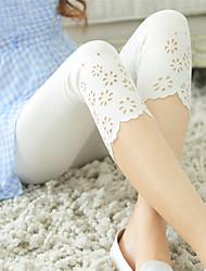 Для женщин Один цвет С прорезями Legging,Смесь хлопка Ткань средней плотности