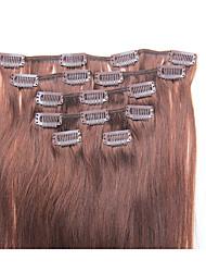 15 pulgadas 7pcs / clip de 70g en extensiones brasileñas del pelo humano recto sedoso # 4 marrón medio