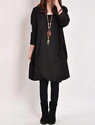 Robe Aux femmes Poche/Fendu/Plissé Mi-long Manches Longues Col Arrondi Coton/Lin