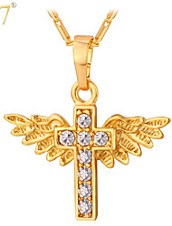 U7® Unisex Cute Angel Wings Kids Jewelry 18K Real Gold/Platinum Plated Rhinestone Religious Cross Pendants Necklaces