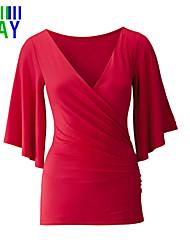 Damen Solide Einfach Lässig/Alltäglich T-shirt,Tiefes V Sommer ½ Länge Ärmel Blau / Rot / Schwarz Polyester Dünn